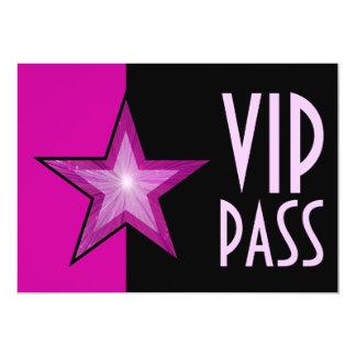 Pink Star 'VIP PASS' pink black 13 Cm X 18 Cm Invitation Card