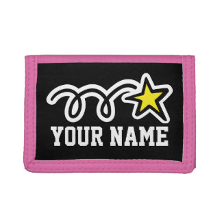 Pink star wallet for girls | Personalizable name