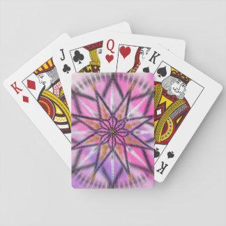 Pink starburst floral mandala playing cards