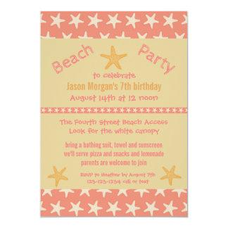 Pink Starfish Beach - Birthday Party Invitation
