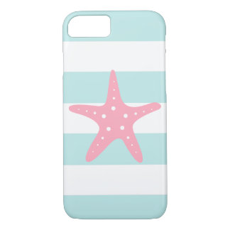 Pink Starfish on Mint Stripes iPhone 7 Case