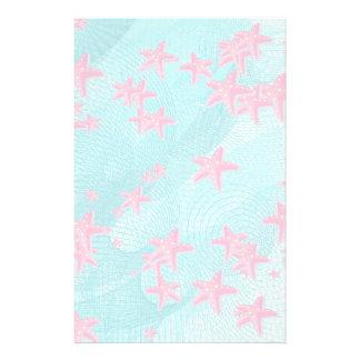 Pink starfish customized stationery