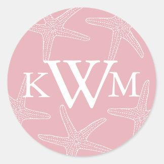 Pink Starfish Wedding Monogram Sticker
