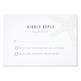 Pink Starfish Wedding Response Card 9 Cm X 13 Cm Invitation Card