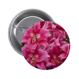 Pink stargazer lilies 6 cm round badge