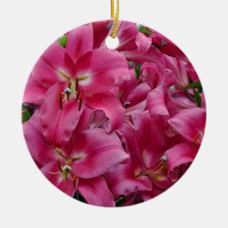 Pink stargazer lilies ceramic ornament