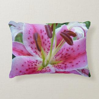 Pink Stargazer Lily Floral Decorative Cushion