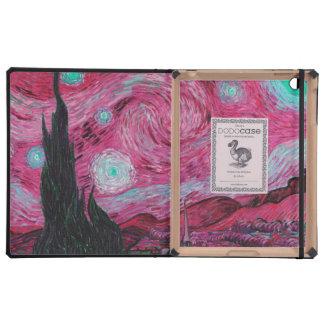 Pink Starry night monogram iPad Folio Case
