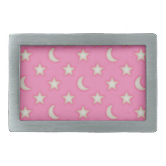 Pink stars and moons pattern belt buckles