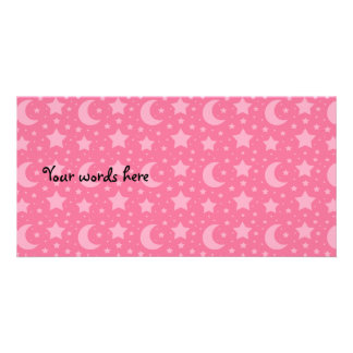 Pink stars and moons pattern photo greeting card