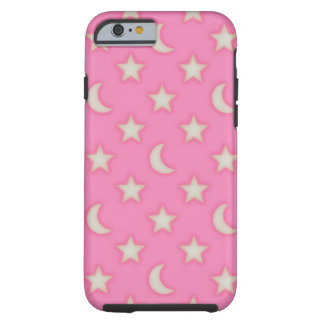Pink stars and moons pattern tough iPhone 6 case