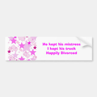 Pink Stars and Stripes Happily Divorced Car Bumper Sticker