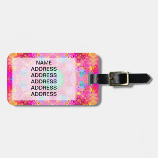 Pink Stars & Bubbles Fractal Pattern Tag For Bags
