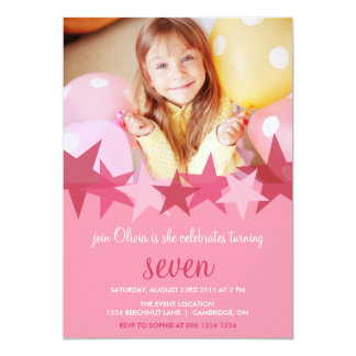 Pink Stars Kids Photo Birthday Party Invitation