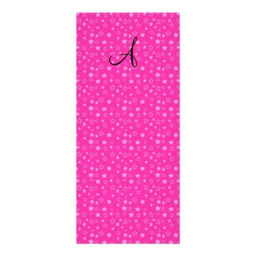 Pink stars monogram gifts rack card design