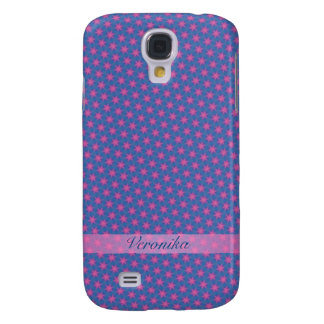 Pink stars on a blue background galaxy s4 case