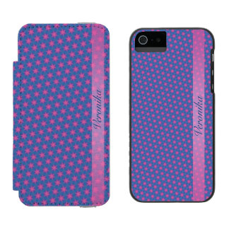 Pink stars on a blue background incipio watson™ iPhone 5 wallet case