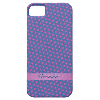 Pink stars on a blue background iPhone 5 cover