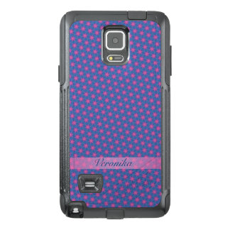Pink stars on a blue background OtterBox samsung note 4 case