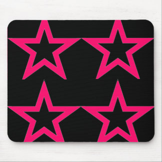 Pink Stars on Black - Mousepad