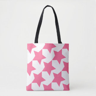 Pink Stars Pattern Custom All-Over-Print Tote Bag