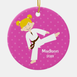 Pink Stars Taekwondo Blonde Girl Personalized Ceramic Ornament