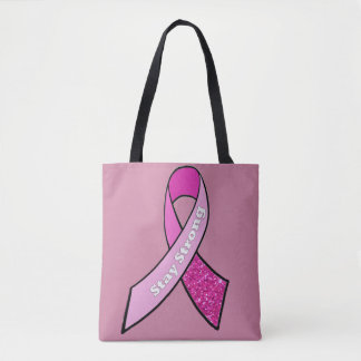 Pink Stay Strong Breast Cancer Ribbon Tote Bag