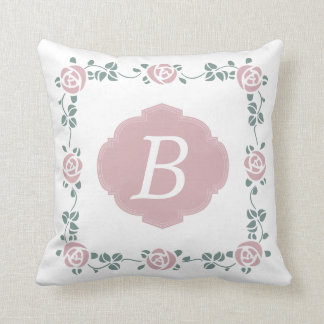 Pink Stencil Roses and Monogram Pillow