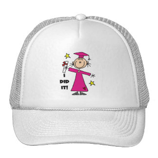 Pink Stick Figure Girl Graduate Trucker Hats