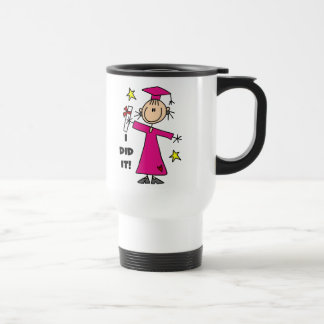 Pink Stick Figure Girl Graduate Mugs