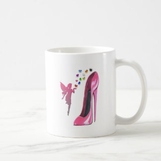 Pink Stiletto and Fairy with 3D Hearts Coffee Mug