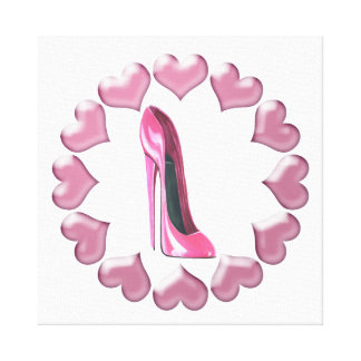 Pink Stiletto and Hearts Stretched Canvas Print