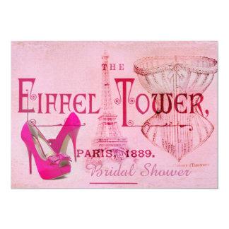 pink stiletto corset eiffel tower  bridal shower card