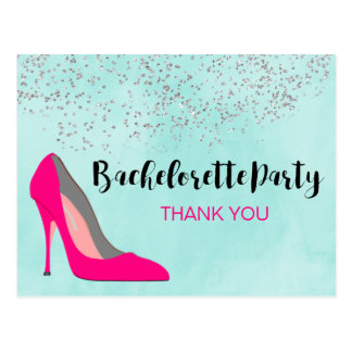 Pink Stiletto Heel Bachelorette Party Thank You Postcard