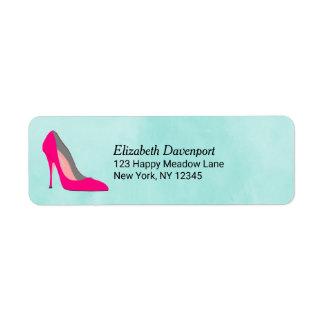 Pink Stiletto Heel Return Address Label