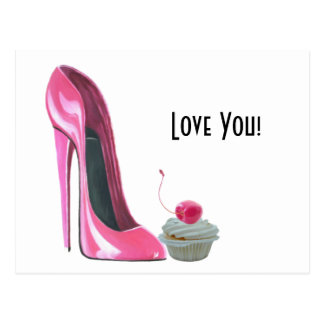 Pink Stiletto Shoe and Cherry Cupcake Postcard