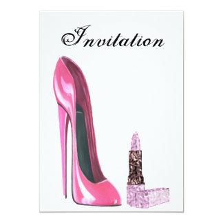 Pink Stiletto Shoe and Lipstick Invitation
