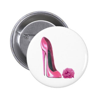 Pink Stiletto Shoe and Pink Rose Art Pinback Button