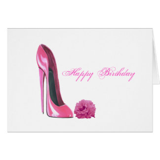 Pink Stiletto Shoe and Pink Rose Art Greeting Card