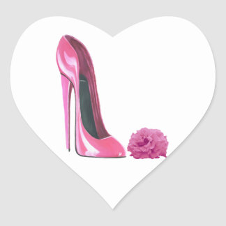 Pink Stiletto Shoe and Pink Rose Art Heart Sticker