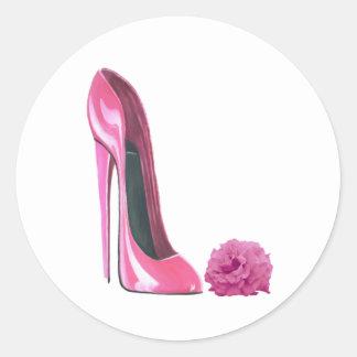 Pink Stiletto Shoe and Pink Rose Art Round Sticker