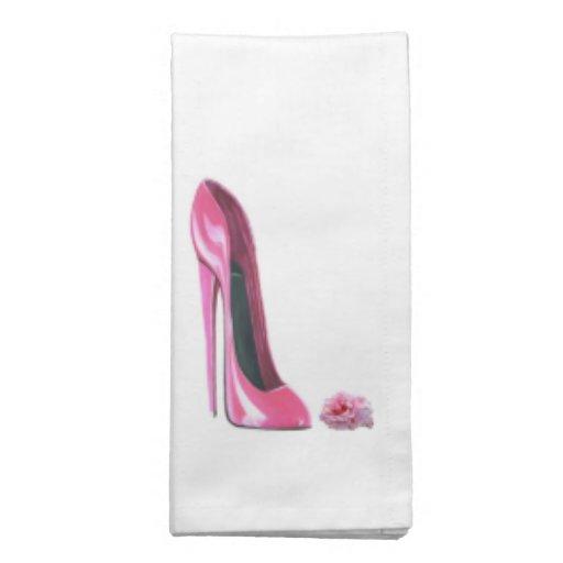 Pink Stiletto Shoe and Rose American MoJo Napkin