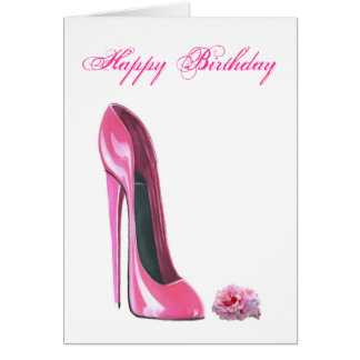 Pink Stiletto Shoe and Rose Greeting Card
