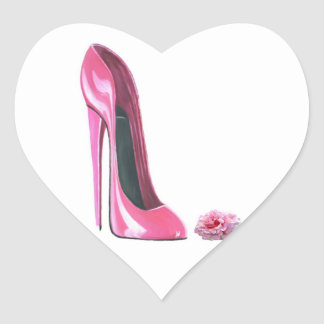 Pink Stiletto Shoe and Rose Heart Sticker