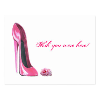 Pink Stiletto Shoe and Rose Postcard