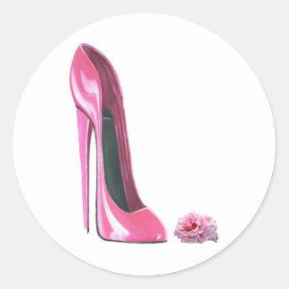 Pink Stiletto Shoe and Rose Round Sticker