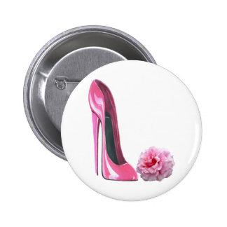 Pink Stiletto Shoe Art and Beautiful Rose Pinback Button