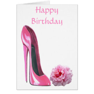 Pink Stiletto Shoe Art and Beautiful Rose Card