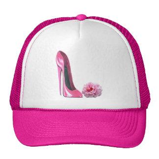 Pink Stiletto Shoe Art and Beautiful Rose Trucker Hats