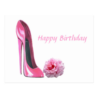 Pink Stiletto Shoe Art and Beautiful Rose Postcard